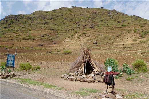 Holy Man's hut beside road
