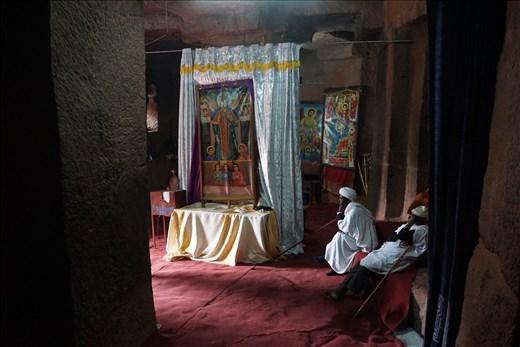priests inside Bet Gabriel-Rafael