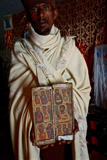 Asheton Mariam Monastery ancient book with paintings of the apostles