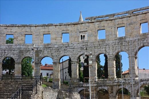 Pula amphitheater and church