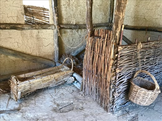inside reconstructed stilt house, Museum on the Water, Lake Ohrid
