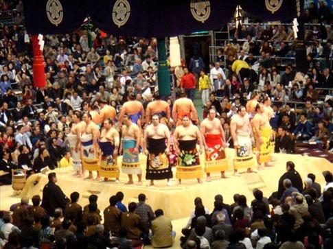 The maku-uchi rikishi before their sumo bouts.
