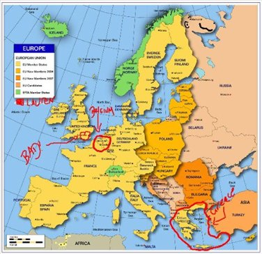 MY MAP OF EUROPE August Th Monday Brussels Belgium - Brussels belgium map