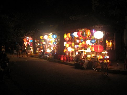 lantern shops in the evening