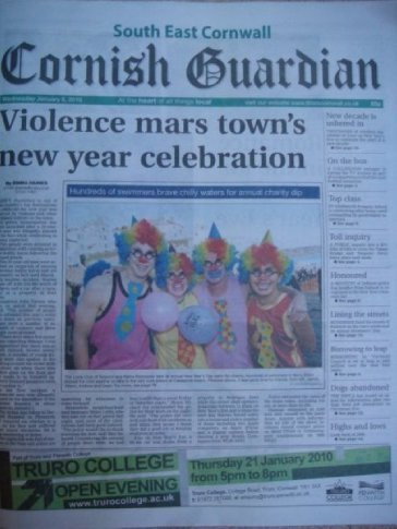 We made the headlines. Clowns were found running around Cawsand beach in Cornwall.