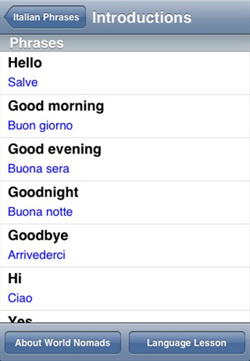A screenshot from our Italian language guide
