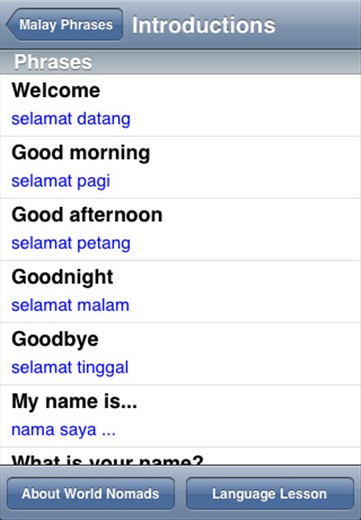 English In Italian: A Screenshot From Our Malay Language Guide Application For