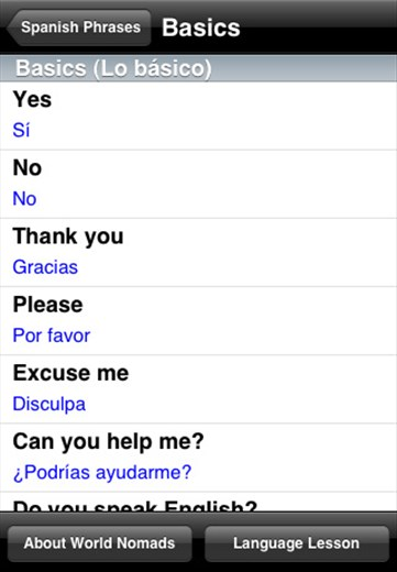 A screenshot from our Spanish language guide