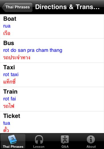 A screenshot from our Thai language guide