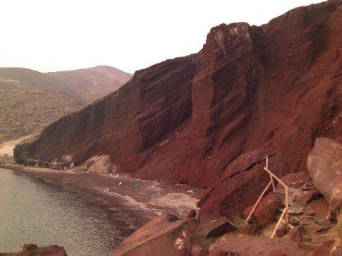Santorini red sand and rock.