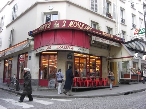 Les Deux Moulins (The Two Windmills) in Monmartre, the famous 'Amelie' Cafe.