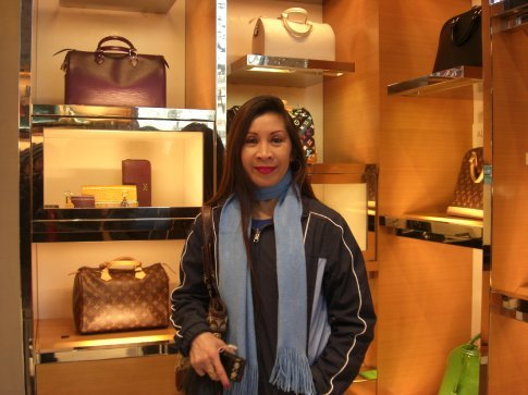 My auntie pulled me into the Luis Vuitton store on Champs Ellyses.  I felt so weird in there, the scrub I am.
