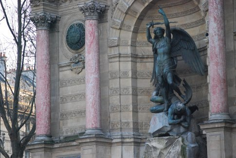 Fountain of the Arch-Angel, Michael, defeating the devil.