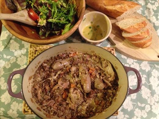 Braised chicken, sausage and lentils