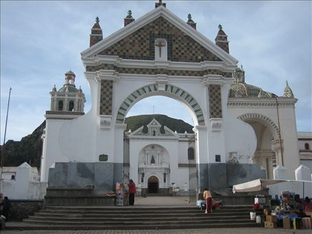 church in Copacabana, bolivia, sunday it is a tradition to drive your car here to get blessed and to receive good fortune for all that you request