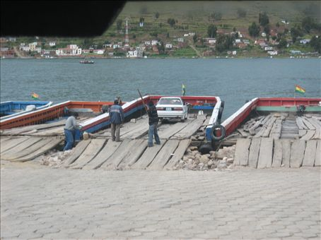 crosssing the lake from copacabana to la paz