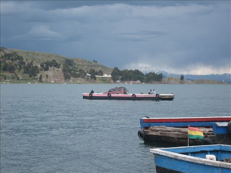 crossing the lake from copacabana to la paz