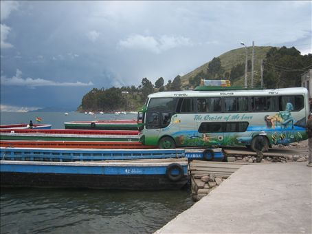 our bus crossing the lake from copa to la paz