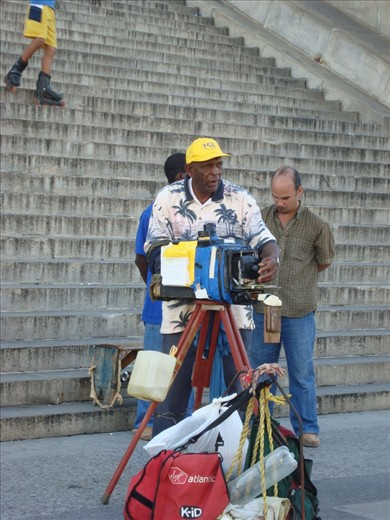 In Cuba you are always travelling back in time. Photography is no exception! This  photographer makes a living by taking photos of tourists with his