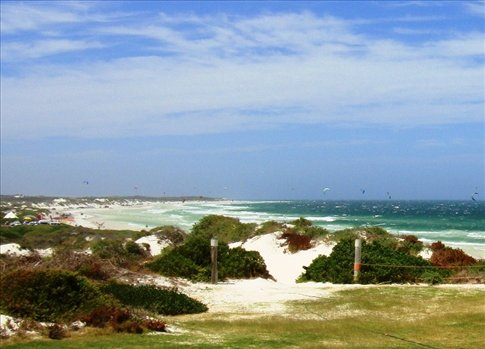 the view of South Beach from the deck of our cabin. the Kitestock action is to the left.