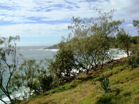 A view of Dolphin Point in the distance from the path in Noosa National Park