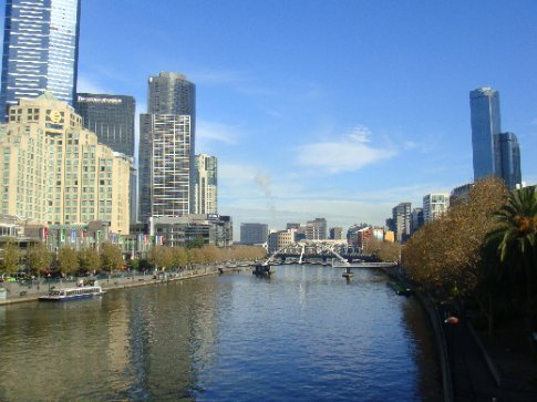 Melbourne's Yarra River--the CBD is on the north bank (the left side) and lots of park space is on the south side.