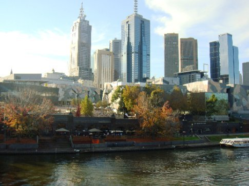 Federation Square, on the north bank of the Yarra River
