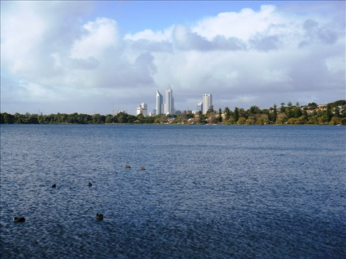 Lake Monger and the Perth city skyline.