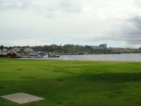 The Mends Street Jetty in South Perth is the south-side port for the ferry that shuttles between South Perth and downtown. King's Park is in the background, across the river.
