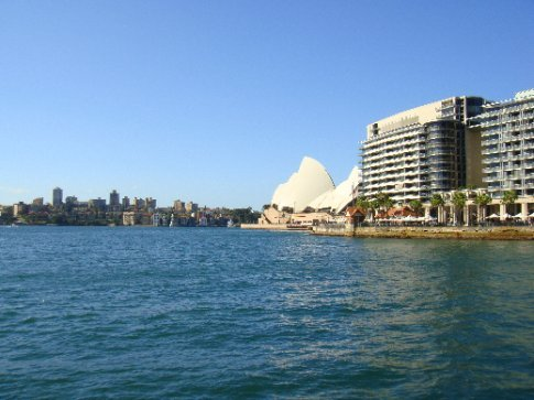 Our first glimpse of the Opera House, sitting out on its own tiny peninsula in Sydney Harbour.