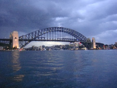 The Harbour Bridge amid a sudden thunderstorm.