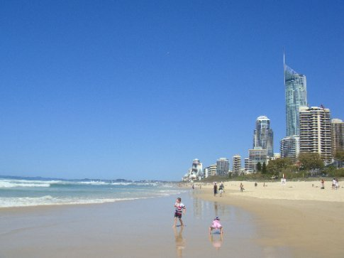 Surfers Paradise beach. The very tall building on the right is apparently the tallest building in Oz and the tallest residential building in the world.