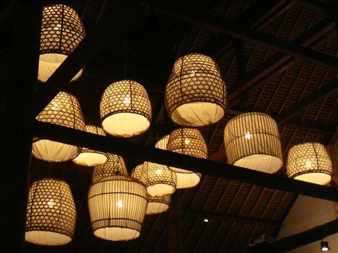 Cool lampshades at Mozzarella restaurant in Legian