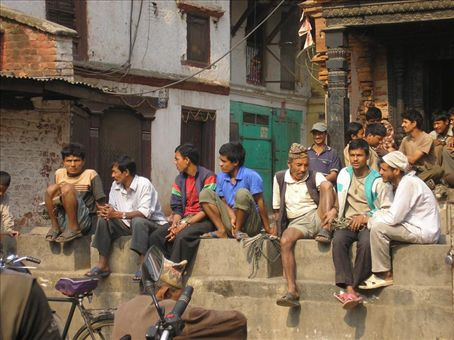 sherpas waiting for work - usually as porters of some sort