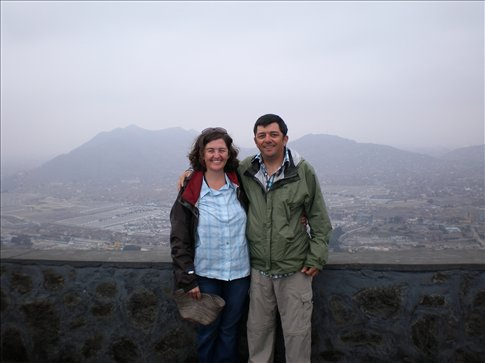 Lee - Ann and I on top of a large hill in Lima