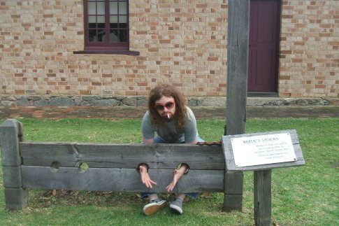 liam in the stocks at the old albany prison