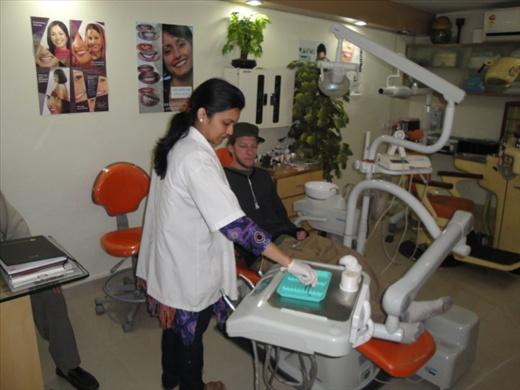 Jared at the dentist in Jaipur  (photo: Cheryl Weber)