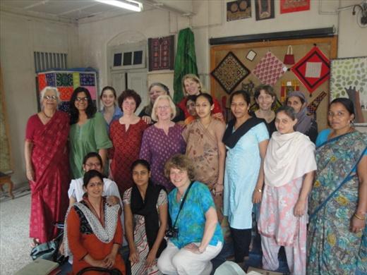 Libana and artisan women at Design SEWA in Ahmedabad, Gujarat