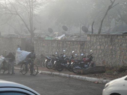 Satellite dishes at a Delhi slum  (photo: Allison Coleman)