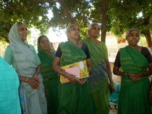 SEWA cooperative women tree farmers in Ganesh Pur, Gujarat singing us a goodbye song! (photo: Cheryl Weber)