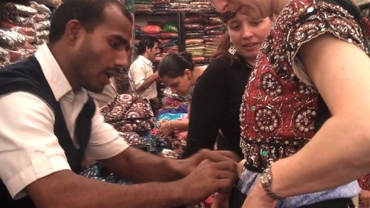 Linda being fitted for her Garba costume in Delhi (photo: Cheryl Weber)