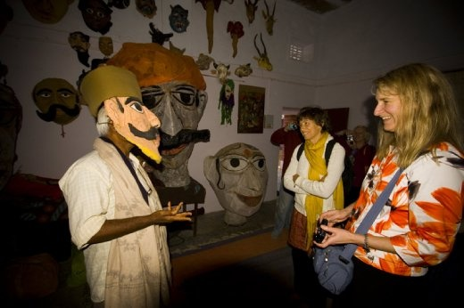 Linda and Allison in the puppet room at Barefoot College, Rajasthan