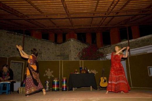 Linda and Allison dancing the Garba at Barefoot College, Rajasthan