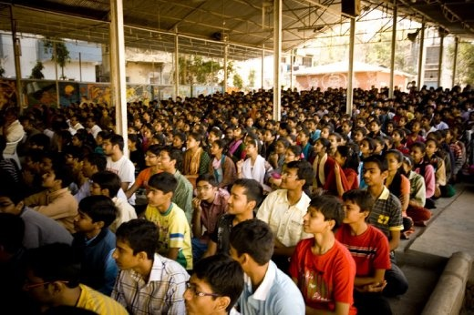 Our audience of 2000 students at the C.N. Vidalaya School in Ahmedabad, Gujarat! (photo: Jared Weber Mattes)