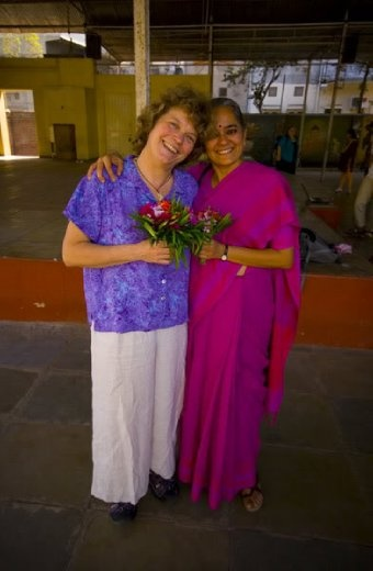 Marytha and Mirai Chatterjee of SEWA after our concert at the C.N. Vidalaya School in Ahmedabad.