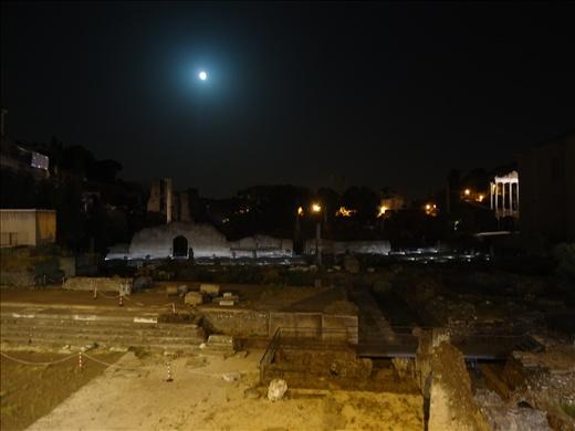 Sun setting over the Roman Forum (I think).