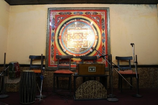 A Thangka painting used as a backdrop of the stage in the restaurant. I would later realise that one Thangka painting can be extremely costly.