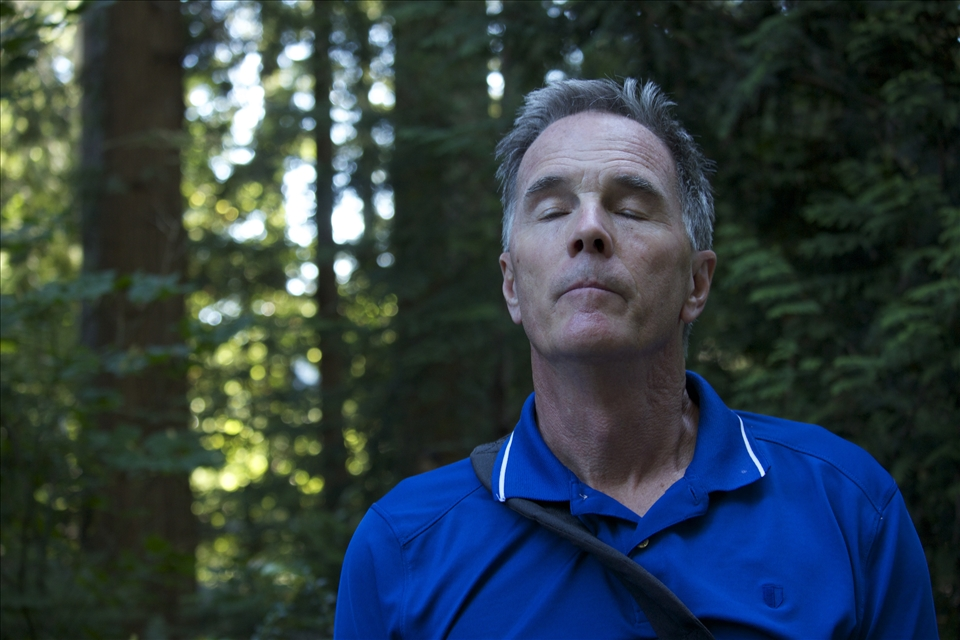 My dad taking a breath of fresh air.