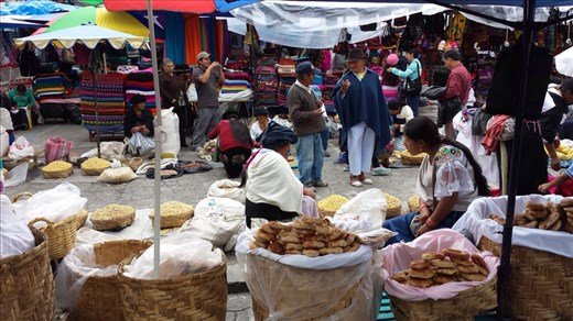 Market where I bought wall hangings, bus ride from Quito.