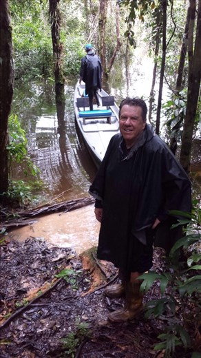 Pretty wet after a hike in the rainforest.